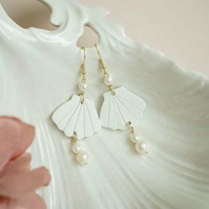 Shell Polymer Clay Earrings with Freshwater Pearls